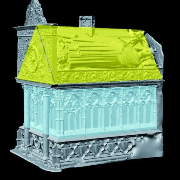Aixecament en 3D del sepulcre amb indicació de la caixa inferior i el sepulcre superior (Autor: Laboratorio de Fotogrametria Arquitectónica. Universidad de Valladolid)