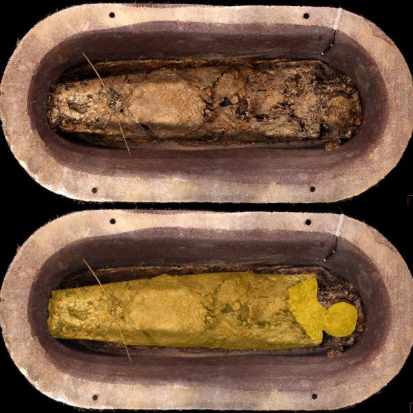El cos de Pere el Gran dins el sarcòfag banyera, amb la capa i caputxa que el cobria. A baix, indicació de les restes de la caputxa i de la capa (Autors: Laboratorio de Fotogrametria Arquitectónica. Universidad de Valladolid. Tractament de la imatge: Carme Subiranas)