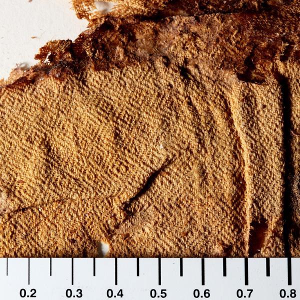 Detall de les restes de la capa de llana, on s'observa la decoració amb losanges (Autors: Carles Aymerich i Ramon Maroto Centre de Restauració de Béns Mobles de Catalunya)