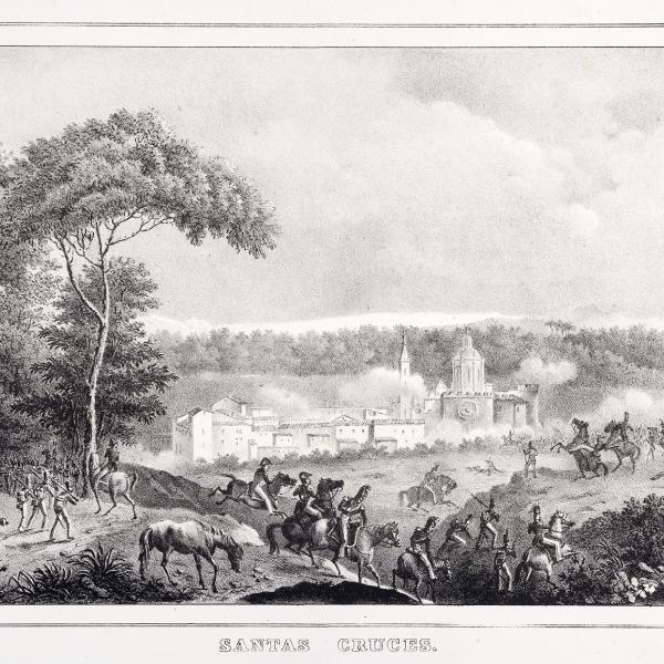 Combat prop de Santes Creus conduït pels francesos del general Saint-Cyr contra les tropes de Reding (21 de febrer de 1809), poc abans de la batalla de Valls (Arxiu particular)