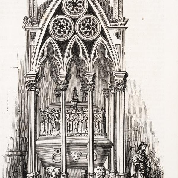 Sepulcre de Pere el Gran segons Valentín Carderera, publicat l'any 1865 (El Museo Universal. Any IX, núm. 25. Madrid, 4 de juny de 1865, rep. p. 181. Arxiu particular)