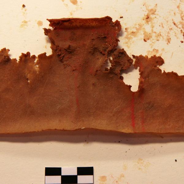 Restes del pergamí corresponent a l'autèntica dipositada en época de B. Hernández Sanahuja (1889) (Autor: Carles Aymerich i Ramon Maroto. Centre de Restauració de Béns Mobles de Catalunya)