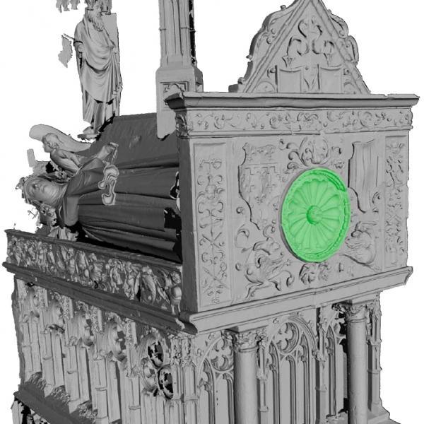 Tomba de Jaume II i Blanca d'Anjou. L'òcul extraïble del frontal d'alabastre (Autors: Laboratorio de Fotogrametria Arquitectónica. Universidad de Valladolid)