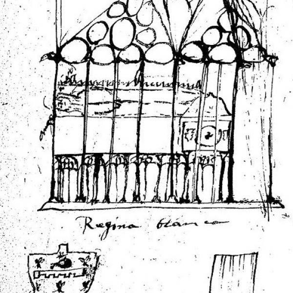 Esbòs de la tomba de la reina Blanca fet per Jeroni Pujades. El cronista estava especialment interessat a fixar les representacions heràldiques dels monuments (Bibliothèque Nationale de France, ms Baluze 239, fol. 55)