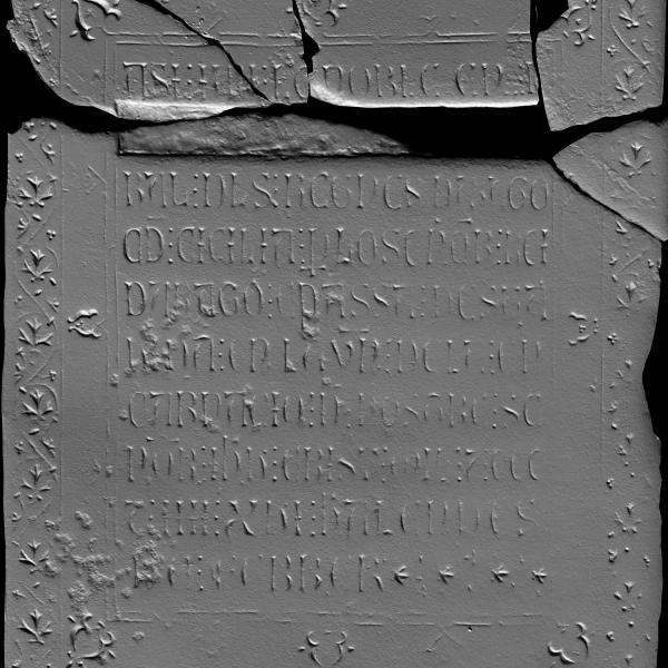 La làpida de Roger de Llúria amb el repicat de la part on es llegia el nom de l'almirall (Autors: Laboratorio de Fotogrametria Arquitectónica. Universidad de Valladolid)