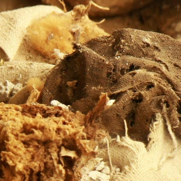 Restes de l'interior de la tomba en el moment de l'obertura. S'observa la presència de nombrosos fragments de tèxtils barrejats amb altres tipus de restes (Autor: Marisol Cidrás)