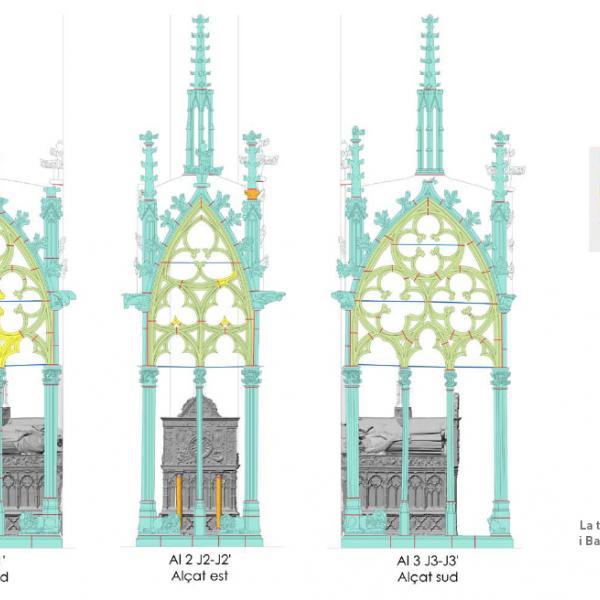 La tomba de Jaume  II i Banca d'Anjou (Autors: Laboratorio de Fotogrametria Arquitectónica. Universidad de Valladolid – Javier Chillida)