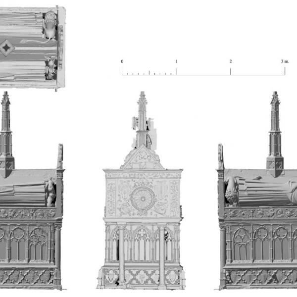Aixecament planimètric de la tomba de Jaume II i Blanca d'Anjou [Autors: Laboratorio de Fotogrametría Arquitectónica. Universidad de Valladolid – Joan E. Garcia Biosca – Emili Revilla – Maria Pujals (Museu d'Història de Catalunya)]