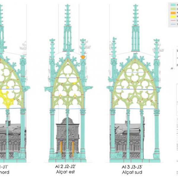 Alçats de la tomba de Jaume II i Blanca d'Anjou. (Autor: Laboratorio de Fotogrametria Arquitectónica. Universidad de Valladolid)