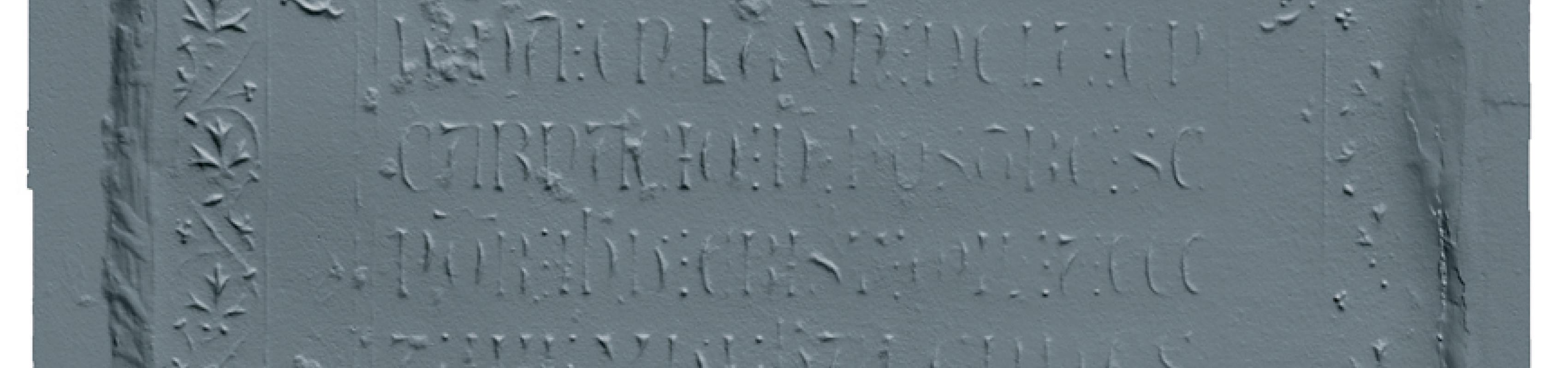 Aixecament en 3D de la làpida de Roger de Llúria abans de la restauració  (Autors: Laboratorio de Fotogrametría Arquitectónica. Universidad de Valladolid)